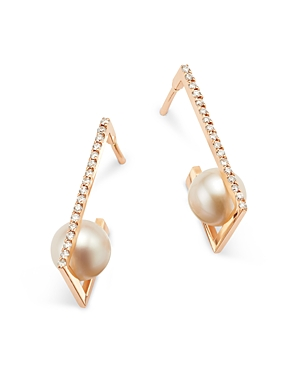 Own Your Story 14K Rose Gold Delicate Edge Cultured Freshwater Pearl & Diamond Earrings