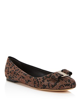 Salvatore Ferragamo - Women's Varina Mos Embellished Leather Ballet Flats