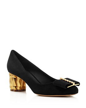 Salvatore Ferragamo - Women's Capua Suede Block-Heel Pumps