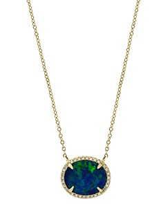 """Bloomingdale's - Blue Opal & Diamond Pendant Necklace in 14K Yellow Gold, 18"""" - 100% Exclusive"""