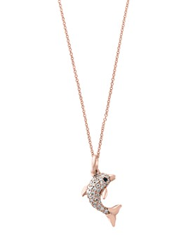 "Bloomingdale's - Black & White Diamond Dolphin Pendant Necklace in 14K Rose Gold, 18"" - 100% Exclusive"