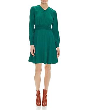 Sandro Claudia Dot Jacquard Pattern Dress