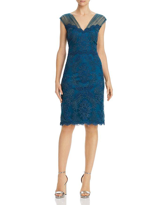 57904fcab360 Tadashi Shoji Embroidered Mesh Dress In Cerulean | ModeSens