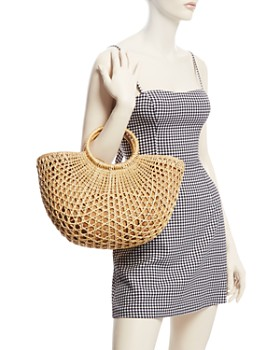 AQUA - Half Moon Large Straw Tote Bag - 100% Exclusive