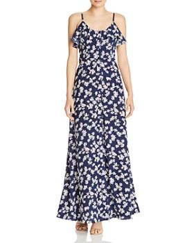 b2c76d4eaa36 AQUA - Button-Front Floral Maxi Dress - 100% Exclusive ...