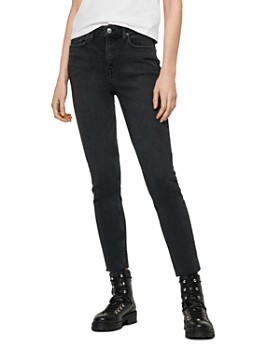 ALLSAINTS - Roxanne Raw-Edge Cropped Skinny Jeans in Washed Black