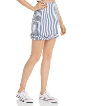 AQUA - Smocked-Side Striped Skirt - 100% Exclusive