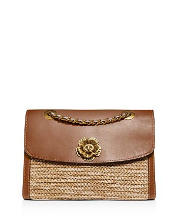 COACH - Parker Medium Raffia & Leather Shoulder Bag