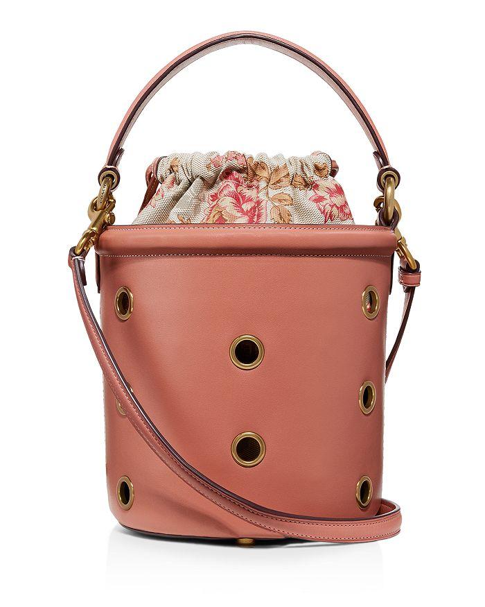 Grommets Medium Drawstring Leather Bucket Bag