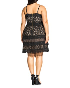 City Chic Plus - Sleeveless Lace Fit-and-Flare Dress