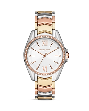Michael Kors Whitney Tri-Tone Chevron Link Bracelet Watch, 38mm
