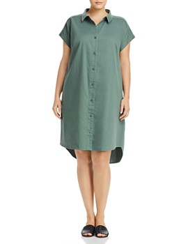e754916827b Eileen Fisher Plus - Organic Cotton Shirt Dress ...