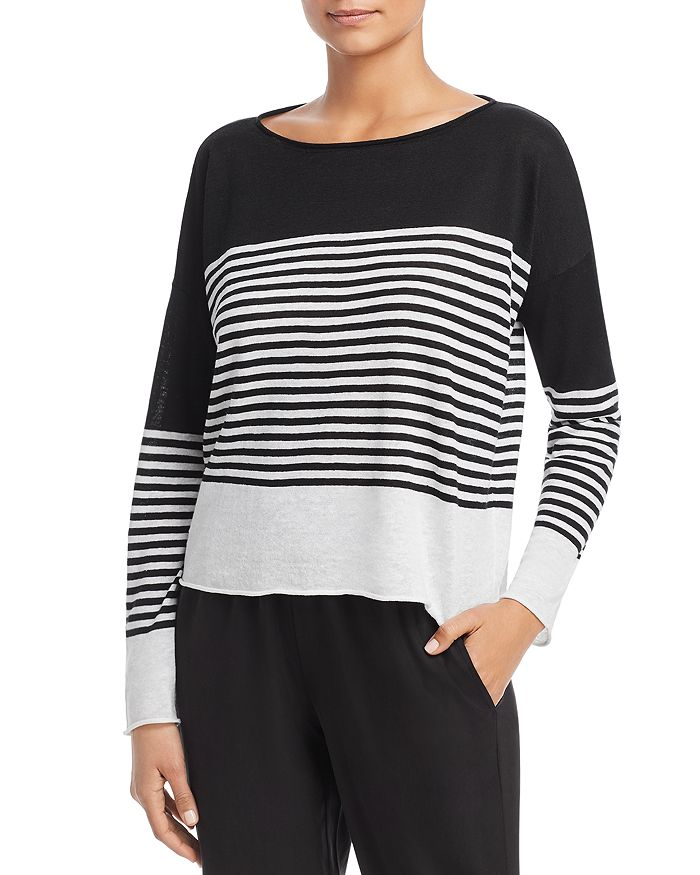 Eileen Fisher - Striped Boat-Neck Sweater
