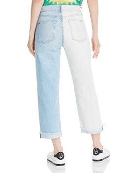 e139f56cc00 ... Alice and Olivia - Amazing Asymmetric Two-Tone Slim Straight-Leg Jeans  in Spring