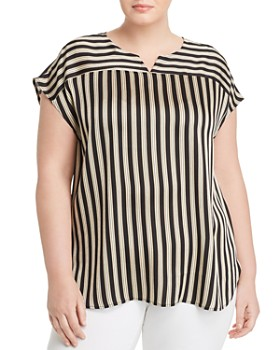 VINCE CAMUTO Plus - Striped Cap-Sleeve Blouse