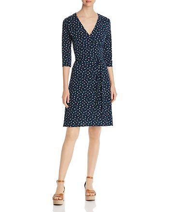 Leota - Dot-Print Faux-Wrap Dress