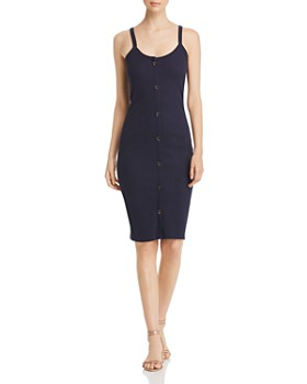 Vero Moda - Ribbed Button-Detail Sheath Dress