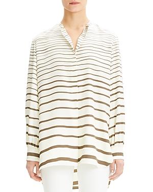 Theory Striped-Silk Tunic Top
