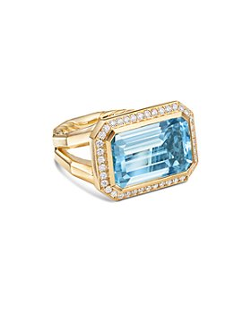 David Yurman - 18K Yellow Gold Novella Statement Ring with Blue Topaz & Diamonds