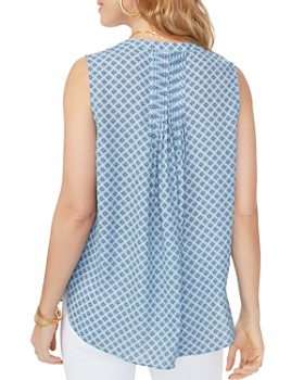 NYDJ - Sleeveless Printed Pintuck-Back Blouse
