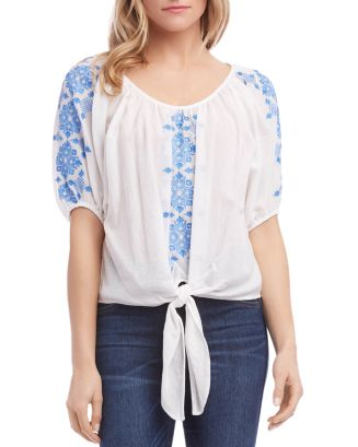 Embroidered Tie Front Top by Karen Kane