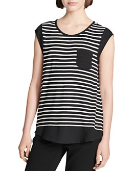 Calvin Klein - Striped Cap-Sleeve Tee