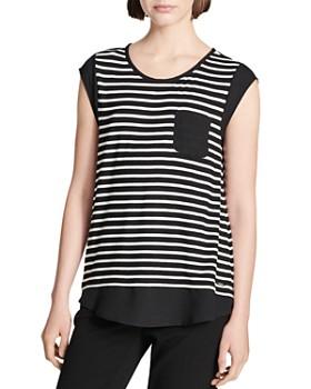Calvin Klein - Striped Cap-Sleeve Tee