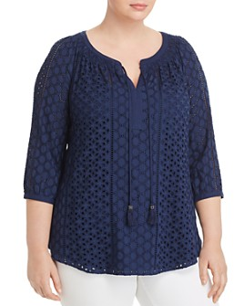 Daniel Rainn Plus - Paisley-Print Peasant Top