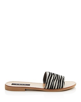 AQUA - Women's Zebra Print Slide Sandals - 100% Exclusive
