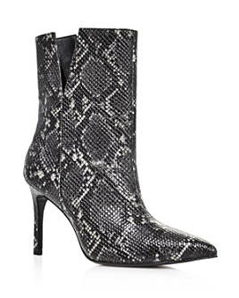 Charles David - Women's Dashing High-Heeled Snake-Print Ankle Booties