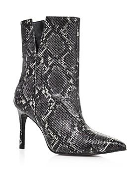 Charles David - Women's Dashing High-Heeled Snake-Print Ankle Booties