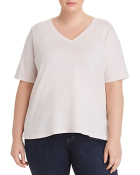 b457014ad2a40 Eileen Fisher Plus - Organic Cotton V-Neck Tee ...