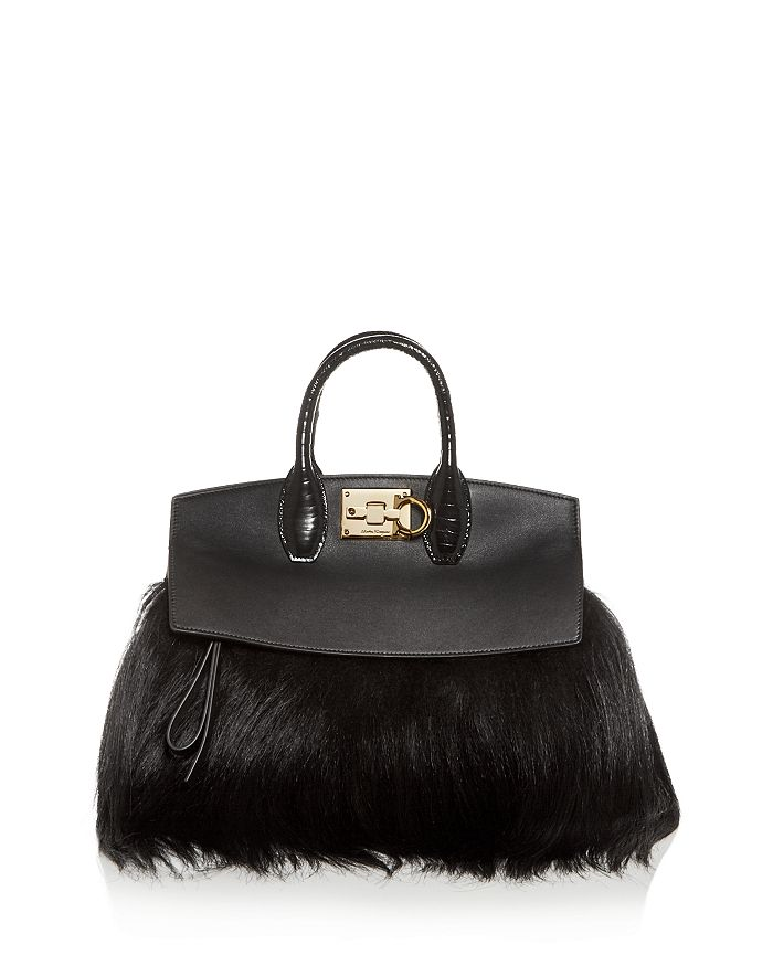 Salvatore Ferragamo - The Studio Bag Small Fur Tote