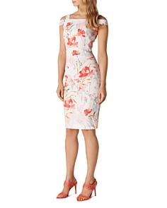KAREN MILLEN - Cold-Shoulder Floral Sheath Dress
