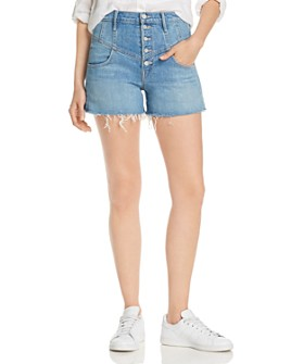 MOTHER - The Swooner High-Rise Front-Yoke Denim Shorts in Post No Bills