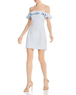 French Connection Dresses WHISPER LIGHT RUFFLED OFF-THE-SHOULDER DRESS
