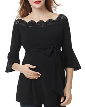 Kimi & Kai - Melisende Lace-Trim Belted Maternity Top
