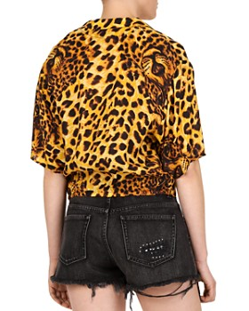 The Kooples - Leopard-Print Wrap Top