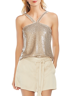 Vince Camuto Tops TWO-TONE SEQUINED TOP