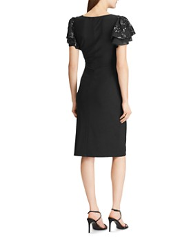 Ralph Lauren - Sequined-Sleeve Cocktail Dress