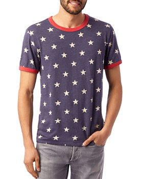 ALTERNATIVE - Eco Star-Print Ringer Tee