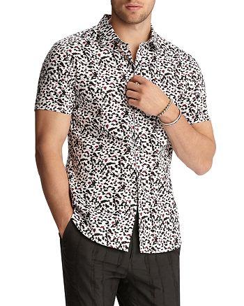 John Varvatos Collection - Short-Sleeve Two-Tone Splatter-Print Classic Fit Shirt