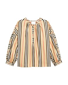 Burberry - Girls' Lola Stripe & Check Top - Big Kid