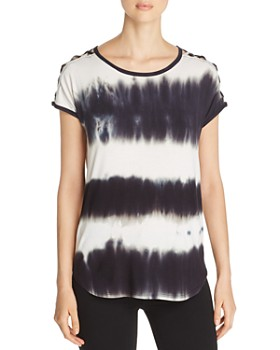Alison Andrews - Shoulder-Cutout Tie-Dye Tee