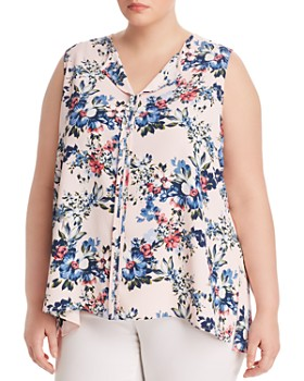 B Collection by Bobeau Curvy - Lily Floral Pleat-Back Top