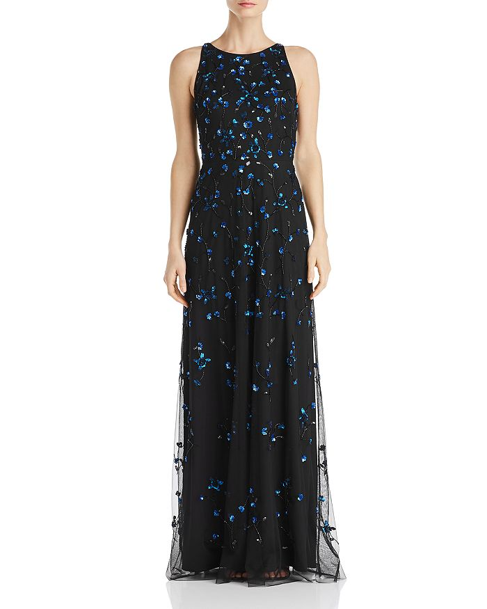 Adrianna Papell - Sequined Floral Gown