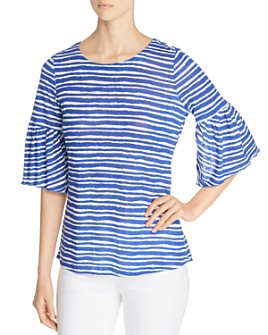 NIC and ZOE - Nantucket Striped Bell-Sleeve Top