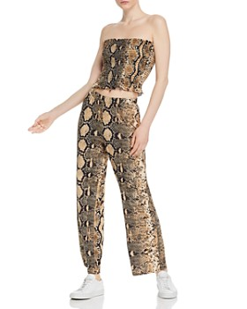 78499919e61cd Vintage Havana - Snake-Print Strapless Top & Pants ...
