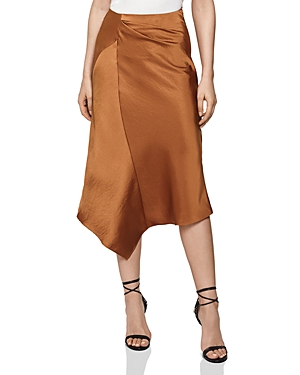 Reiss Skirts ASPEN ASYMMETRIC SATIN MIDI SKIRT