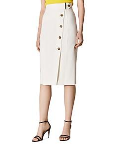 KAREN MILLEN - Button-Front Pencil Skirt